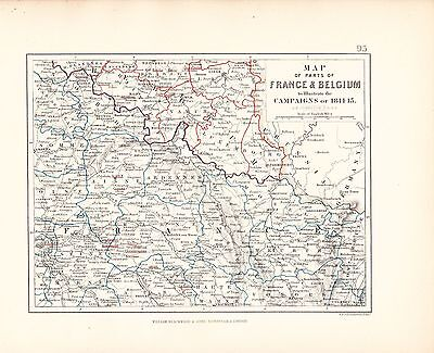 Map/Battle Plan ~ Map Of France & Belgium To Illustrate Campaigns Of 1814-15