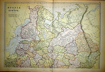 1882 Large Victorian Map ~ Russia In Europe ~