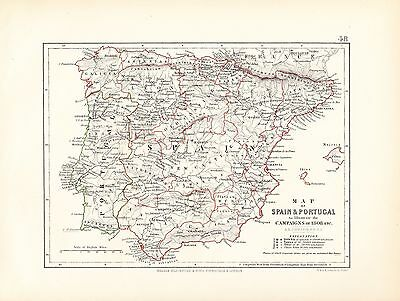 Map/battle Plan ~ Spain & Portugal Illustrating The Campaigns Of 1808 ~