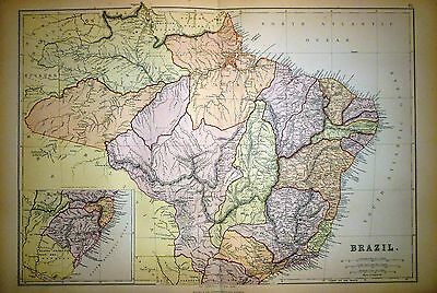 1882 Large Victorian Map ~ Brazil South America ~
