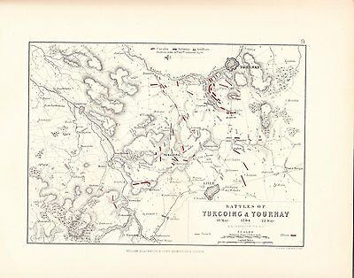 MAP/BATTLE PLAN ~ BATTLES OF TURCOING & TOURNAY ~ 18th & 22nd MAY 1794
