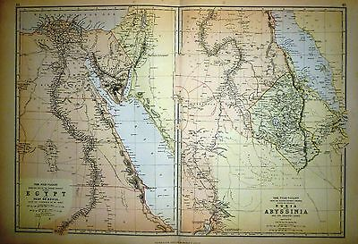 1882 Large Victorian Map ~ Egypt ~ Nile Valley Nubia ~ Abyssinia