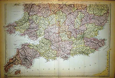 1882 Large Victorian Map ~ England & Wales ~ Southern Part ~ Isle Of Wight