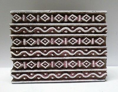 Indian Wooden Hand Carved Textile Print Fabric Block Stamp Ethnic Unique Wave