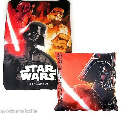 Star Wars Vader set regalo Coperta Plaid in Pile + Cusino ,bambino disney