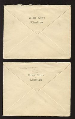 GB KE8 1936 VICTORIA DOCKS MACHINE POSTMARKS + MARITIME ENVELOPES GLEN LINE x 2