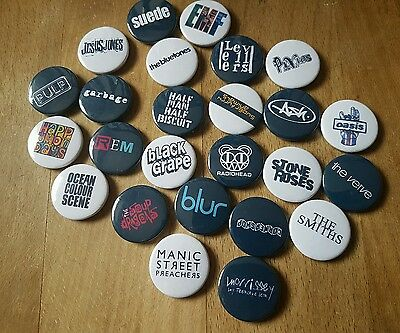 25 INDIE MUSIC BANDS 90S collection of button 1 inch 25mm button pin badges