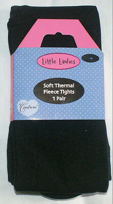 Black Soft Thermal Fleece Tights, Ages 7-8 Years, from Little Ladies by Couture