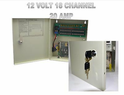 18CH Channel Power Supply Box for CCTV Camera Security Surveillance12V 20A DC