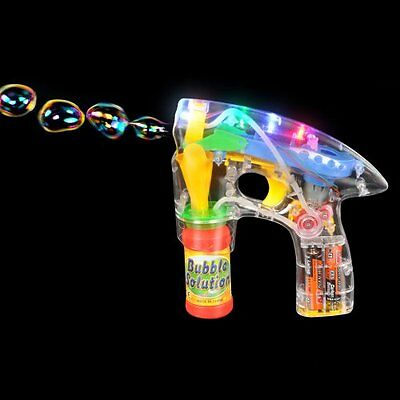 Light-Up Led Bubble Gun Blaster W/ Bubbles And Batteries Toy Play Batteries Incl