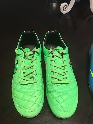 Nike Tiempo Genuine Leather FG Green Soccer Cleats Size 7 Mens