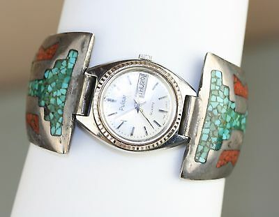 Vintag Navajo Turquoise Coral Inlay Watch Band Tips Signed Quarter Moon Symbol S