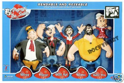 Popeye ( BOXED SET OF 5 ) Sailor Bendable Poseable Toy Figures  RM1112