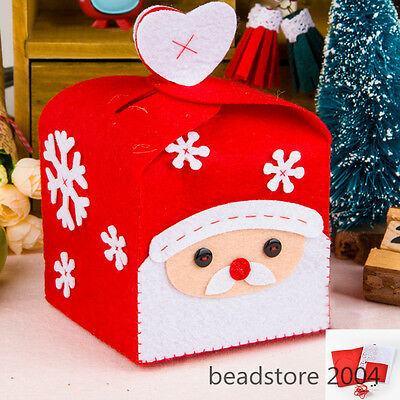 1Set Embroidery Needle Felt DIY Red Christmas Gift Box for Kids Crafts 140x100mm