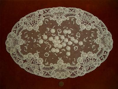 1 SUPERB OVAL HM Antique Vtg BELGIAN BRUSSELS LACE DRESSER SCARF RUNNER DOILY