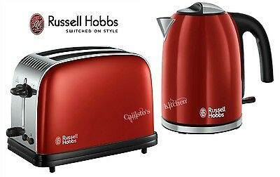 Russell Hobbs Colours Plus Kettle and Toaster Set Red Kettle & 2 Slice Toaster