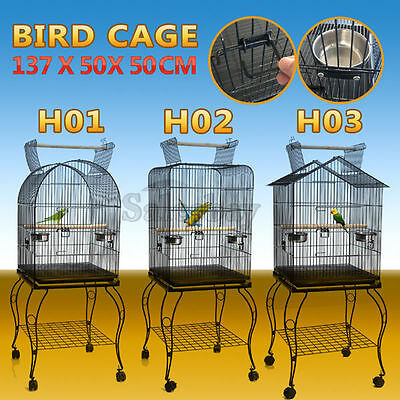 Open Top Bird Cage Parrot Aviary Pet Stand-alone Budgie Castor Wheels Large