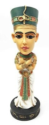 "7"" Height Egyptian Ruler Queen Nefertiti King Tut Wife Bobblehead Figurine Toy"