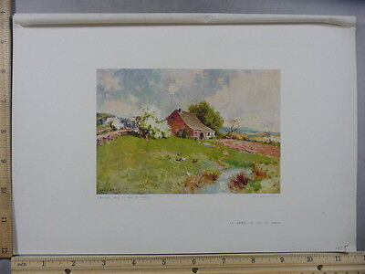 Rare Antique Original VTG 1905 In April by George H Smillie Litho Art Print