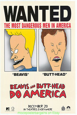 BEAVIS AND BUTTHEAD DO AMERICA MOVIE POSTER Original SS 27x40 RARE Advance Style