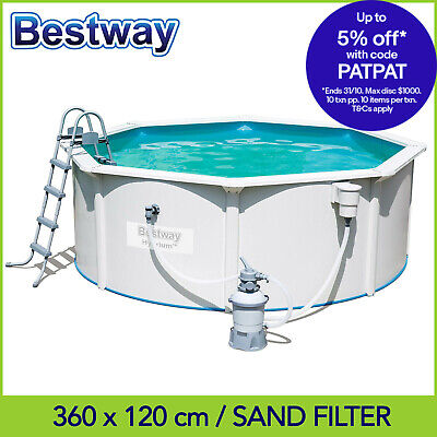 Bestway 3.6 m x 1.2 m Hydrium Poseidon Steel Wall Above Ground Pool -Sand Filter