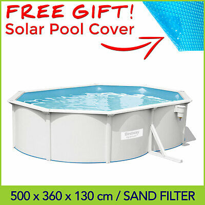 Bestway 16.4ft Hydrium Oval Steel Wall Above Ground Swimming Pool 5 x 3.6 x 1.2m