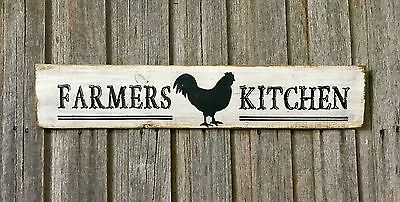 COUNTRY / FARMERS KITCHEN H15cm X L60cm - Rustic Vintage Style Timber Sign