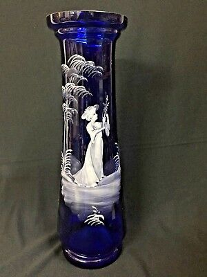 C.1905 Stunning Bristol Blue Glass Mary Gregory Enamelled 38 Cm Vase Vg Cond.