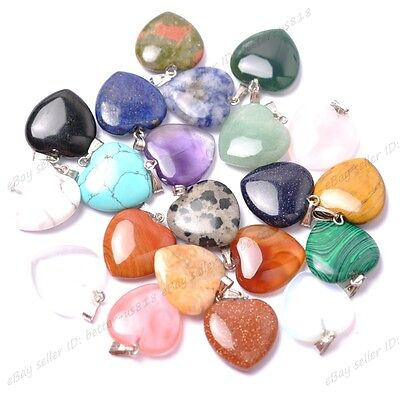 Natural Gemstones Heart Reiki Chakra Pendants Real Leather Necklaces & Earrings