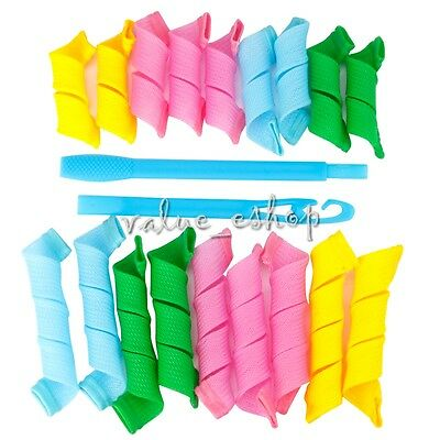 18Pcs Magic Hair Curlers DIY Curlformers Spiral Ringlets Hairband tool Adult New
