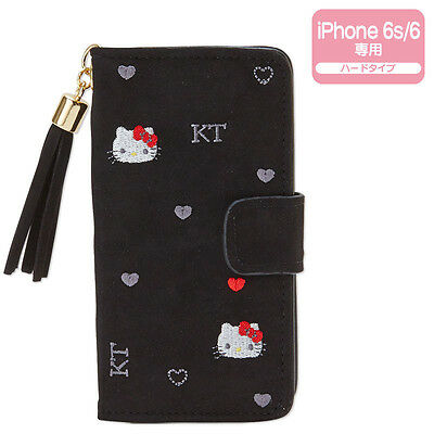 Hello Kitty iPhone 6 6s Case Cover Black Heart Embroidery ❤ Sanrio Japan