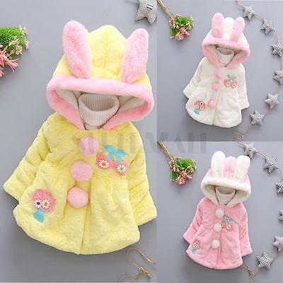 Baby Toddler Girl Faux Fur Fleece Coat Kids Winter Warm Jacket Outerwear Clothes
