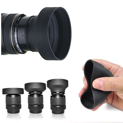 67mm 3-in-1 3-Stage Collapsible Rubber Lens Hood for Nikon Canon Sony DSLR