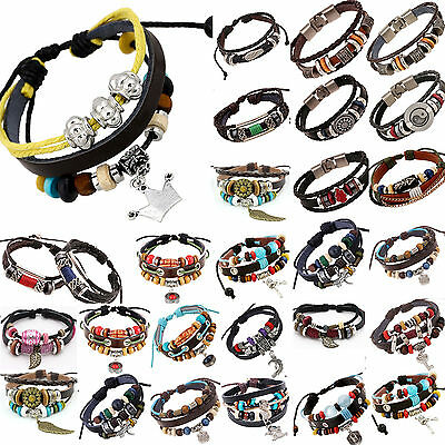 Mens Boys Handmade Leather Braided Surfer Wristband Bracelet Bangle Wrap Best