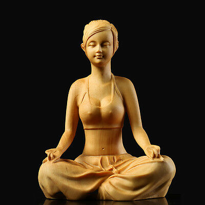 JP091 - 10.5 CM High Carved Boxwood Carving Figurine - Beautiful Girl