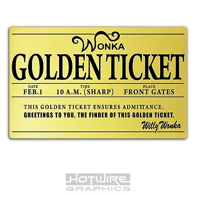 Printed Plastic Card, Willy Wonka GOLDEN TICKET Personalised World Book Day.
