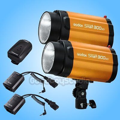 2X Godox Smart 300SDI 300W Studio Strobe Flash Lamp Head w/ AC-01B Trigger 220V