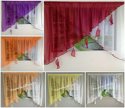 Amazing Voile Net Curtains With Leaves Ready Made Living Dining Room Bedroom New