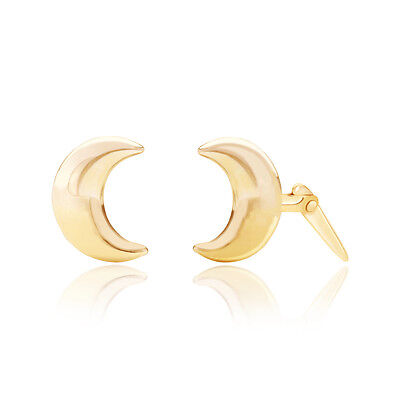 9ct yellow gold crescent moon shaped Andralok stud earrings /  Gift box