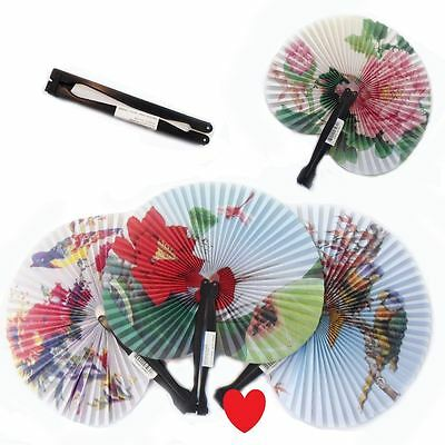 Paper fan hand held oriental  favors party loot bags 3 6 12 pack