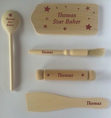 Personalised Children's star baking set wooden spoon chopping board rolling pin