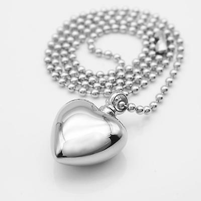 Stainless Heart Shape Cremation Urn Keepsake Pendant Necklace