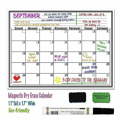 "17"" x 11"" Monthly Dry Erase Magnet Fridge Calendar Flexible White Board Message"