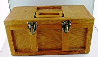Box Wood Wooden Tool Box Used Well Made Rare Removable Handled Tray VTG