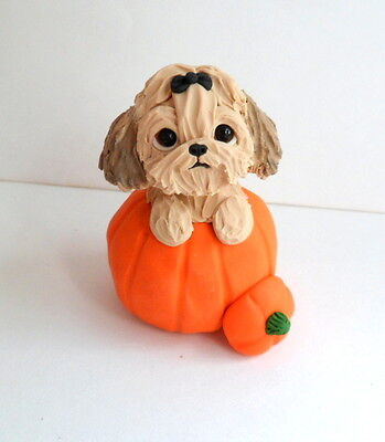 Shih Tzu  sculpture Polymer Clay Mini DOG Hand sculpted by Raquel