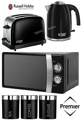 Russell Hobbs Colours Plus Kettle and Toaster Set & Microwave & Black Canisters
