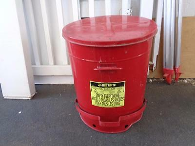 21 Gallon JUSTRITE OILY WASTE CAN Foot Operated / RM08321 OILY RAG CAN