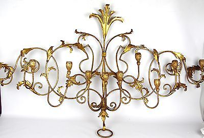 Beautiful Mid Century Hollywood Regency Gold Gilt Italian Wall Sconce Candelabra