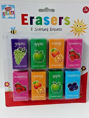 8 Fruit Scented Erasers Rubbers School Party Gift Bag Filler Kids Children