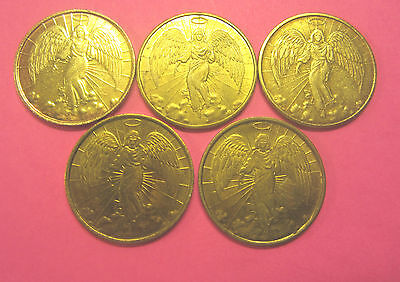 Vintage Religious  Gold Angel Coins Medals Lot Of 5 Double Sided Metal Very Nice